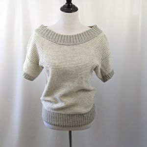 Gray and White Short Sleeve Sweater
